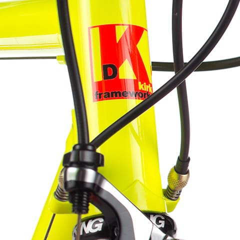 yellow bike with head tube decal
