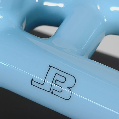 JB decal on light blue KIRK frame